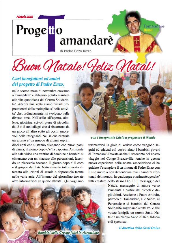 IL NOTIZIARIO DEL PROGETTO TAMANDARE' DI NATALE 2015