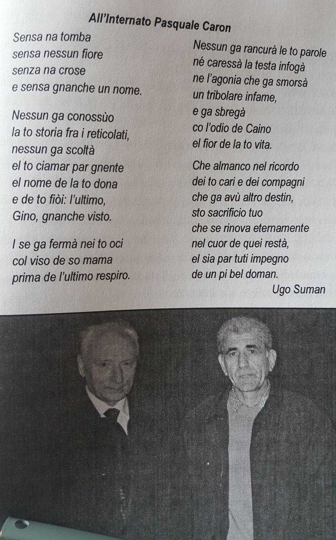 Gino Caron (a destra) col poeta e giornalista Ugo Suman